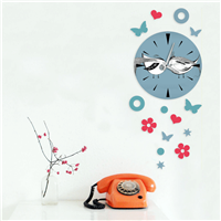 Küçük Kuş Desen Dekoratif Saat (DKF-008)