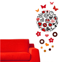 Kalp Desen Dekoratif Saat (DKF-041)