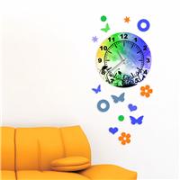 Mavi-Yeşil Desen Dekoratif Saat (DKF-011)
