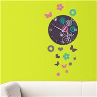 Çiçekler Desen Dekoratif Saat (DKF-009)